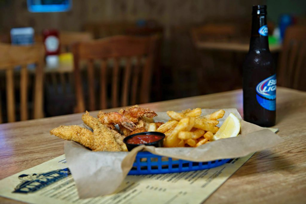 Paw Paw's Catfish House food and beer on table
