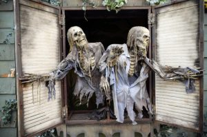 skeletons in a haunted house
