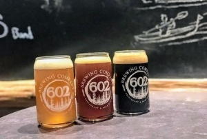 Three beers at 602 Brewing Company in Bastrop Texas.