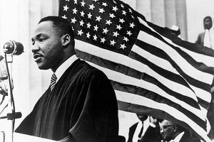 Martin Luther King with American Flag