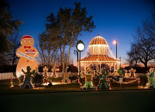 Smithville Festival of Lights with lighted gazebo and gingerbread man