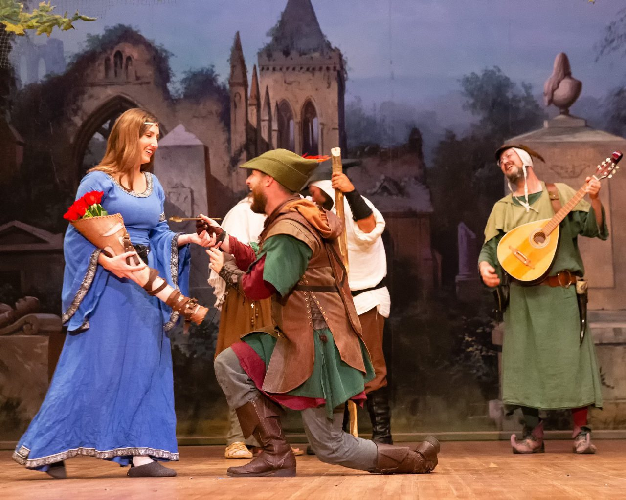 actors on stage at sherwood forest faire