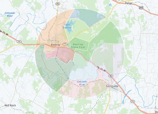 Radius map of Bastrop County