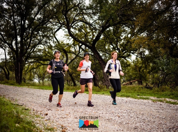 Three Women Running on Trail at The Game
