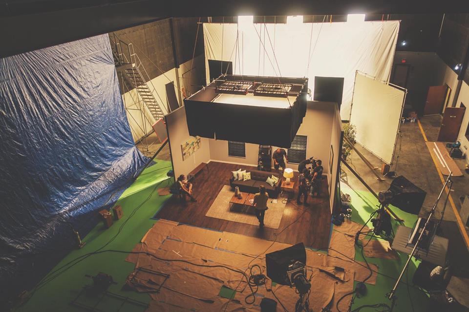 New Republic Studios set and film crew