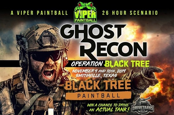 Paintball flyer for November 9-10 event at Black Tree Ranch outside Smithville, Texas.