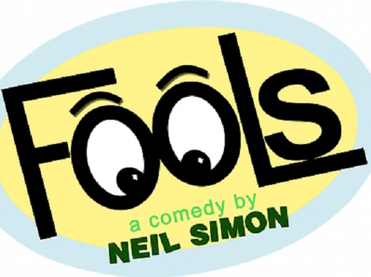 Logo of Fools, a comedy to be performed at Bastrop Opera House.
