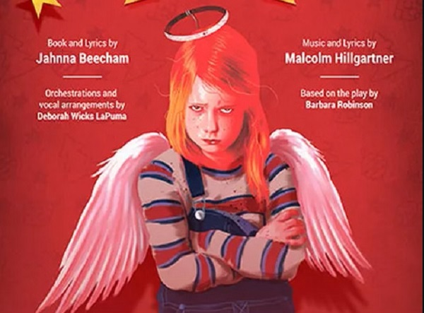 Artwork of a sulky child with halo and wings for performace of musical The Best Christmas Pageant Ever