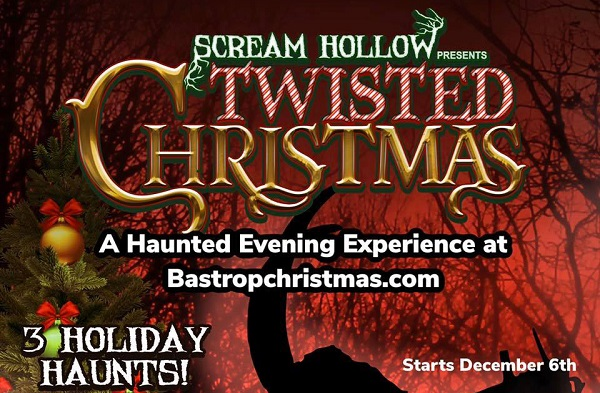 The logo for Scream Hollow's Twisted Christmas in 2019 in Bastrop County in Texas.