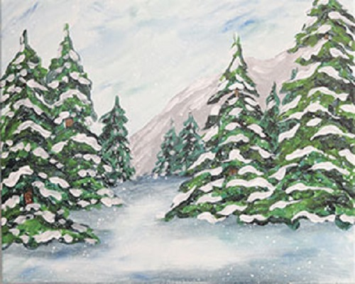 Art canvas of snow-covered pine trees