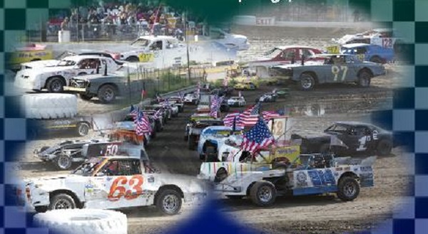 Race cars on a track at Cotton Bowl Speedway in Paige, Texas