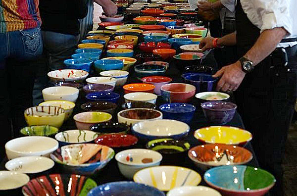 bowls created by artists and students for the Bastrop Empty Bowl Project in Bastrop, Texas