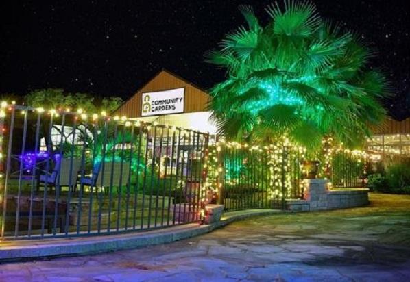 Nighttime image of Community Gardens west of Bastrop Texas.