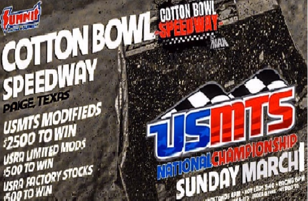 USMTS National Championship image at Cotton Bowl Speedway in Paige, Texas.