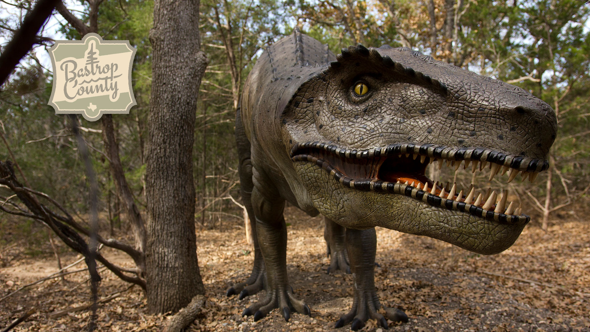 view of dinosaur sculpture along trail