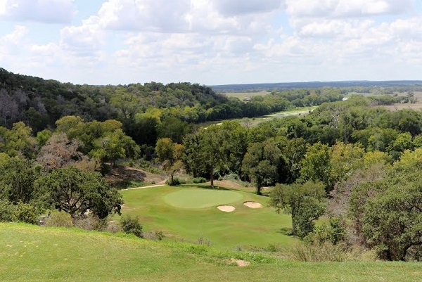 Overlooking cliff at Hole 15 at ColoVista Golf Course near Bastrop Texas.